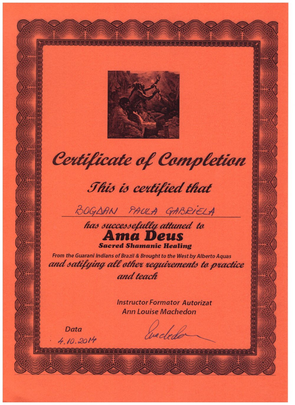 Certificat Ama Deus