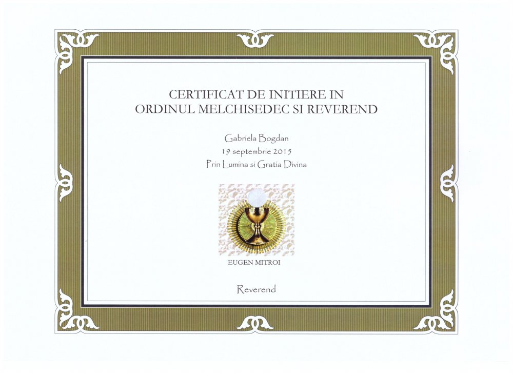 Diploma Preotie Melchizedec