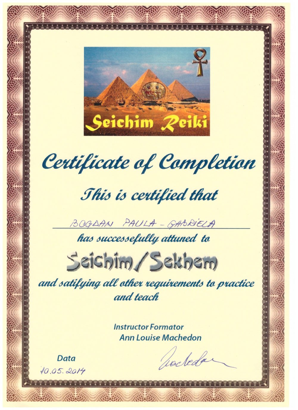 Diploma Seichim in 7 Nivele