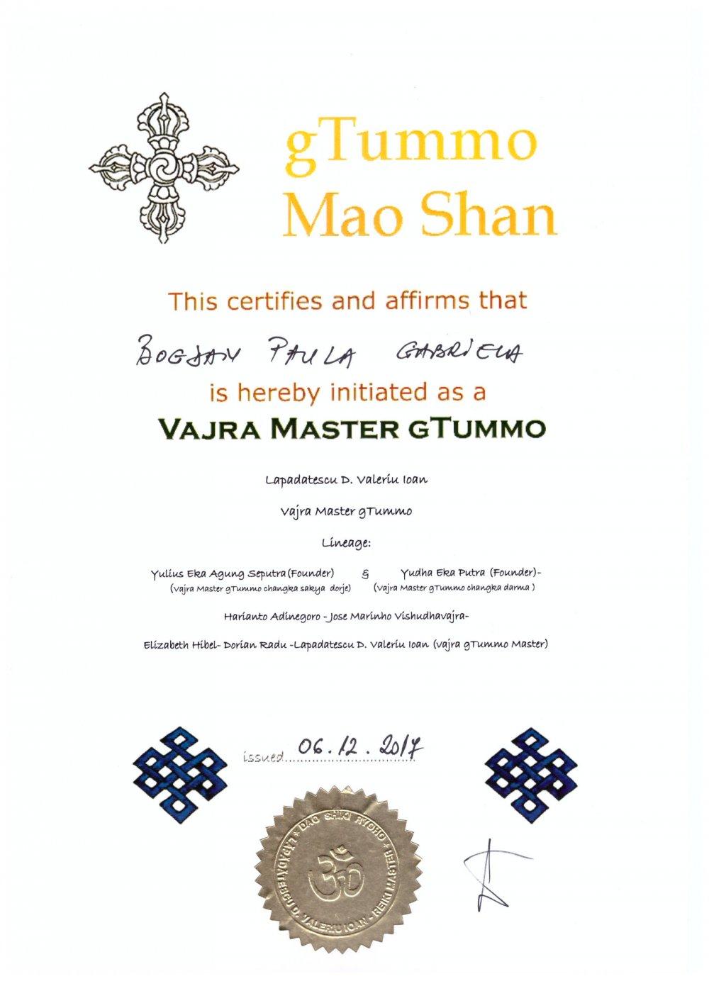 Diploma gTummo Mao Shan