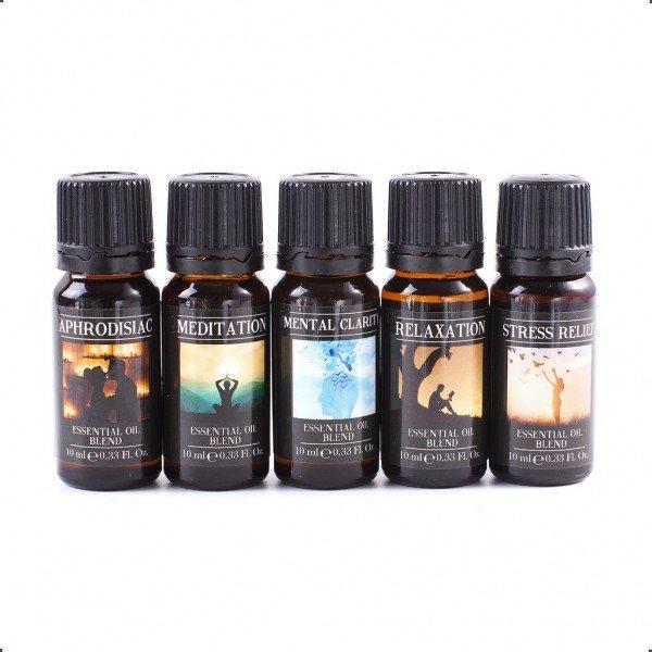Set 5 uleiuri esentiale mix - Afrodisiac, Meditatie, Claritate mentala, Relaxare, Antistress