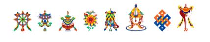 Moneda cu cele 8 Simboluri Tibetane si Simbolul Dublei Fericiri